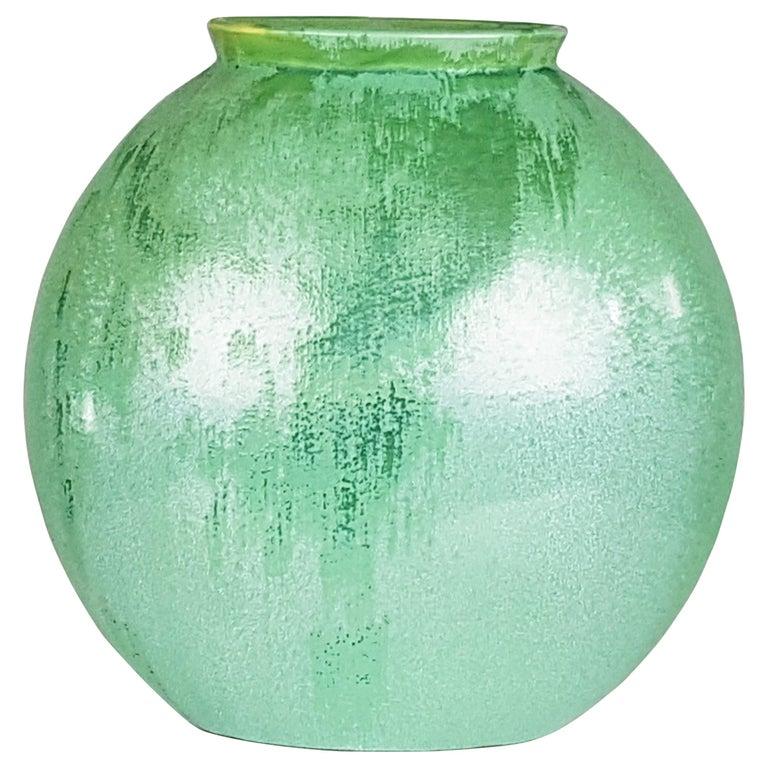 Italian Teal Green Ceramic 1940s Vase by Guido Andloviz for SCI Laveno For Sale