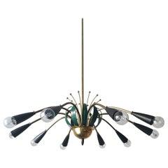 Italian Ten-Arm Midcentury Stilnovo Style Sputnik Chandelier, 1950s