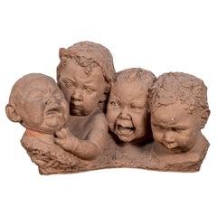 Italian Terracotta Bust of Crying Babies