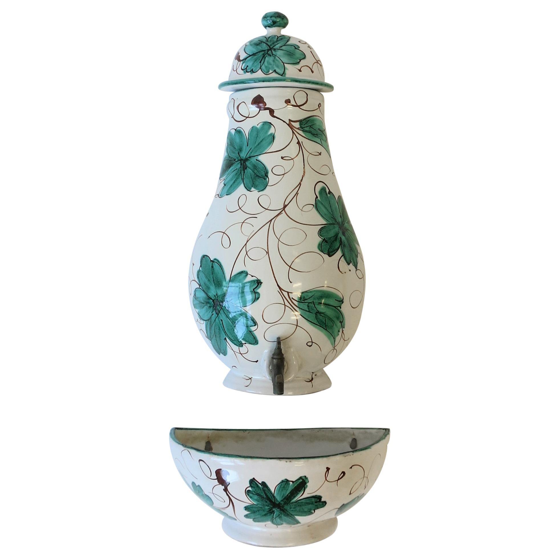 Italian Terracotta Ceramic Wall Fountain