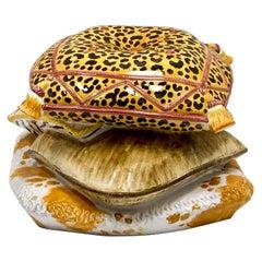Italian Terracotta Leopard Stacked Pillow Garden Seat / Table