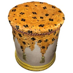Italian Terracotta Round Painted Garden Seat End Table with Stylish Animal Print
