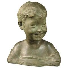 Italian Terracotta Sculpture Bust of a Child, 20th Century