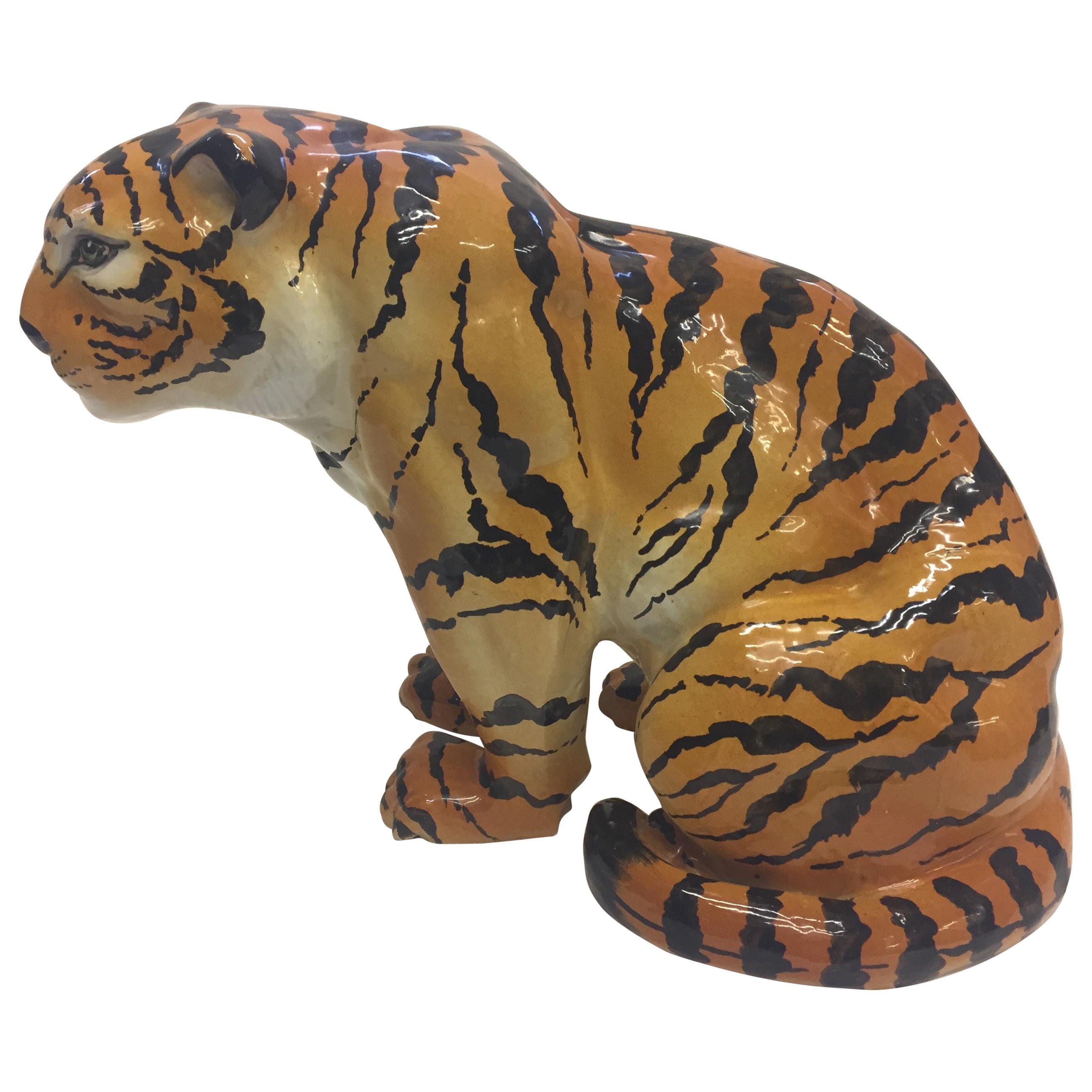 Italian Terracotta Seated Tiger Sculpture