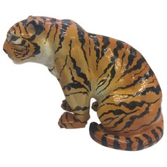 Italian Terracotta Seated Tiger Sculpture