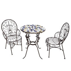 Italian Terrazzo Tile Cafe Table and Chairs, Set A