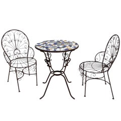 Italian Terrazzo Tile Cafe Table and Chairs, Set B