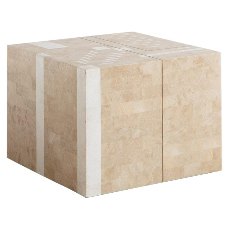 Italian Tessellated Stone Side Table For Sale