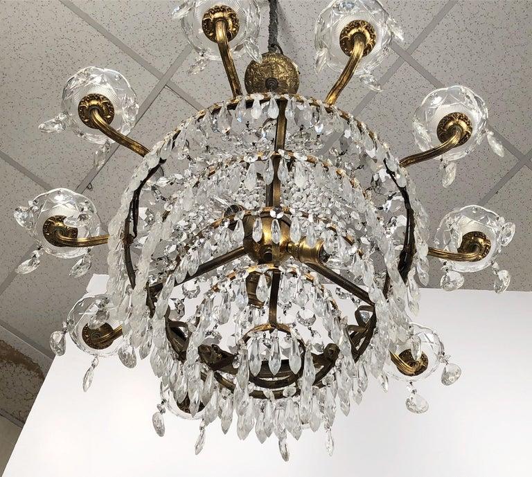Italian Thirteen-Light Drop Crystal Chandelier, Empire Style (26