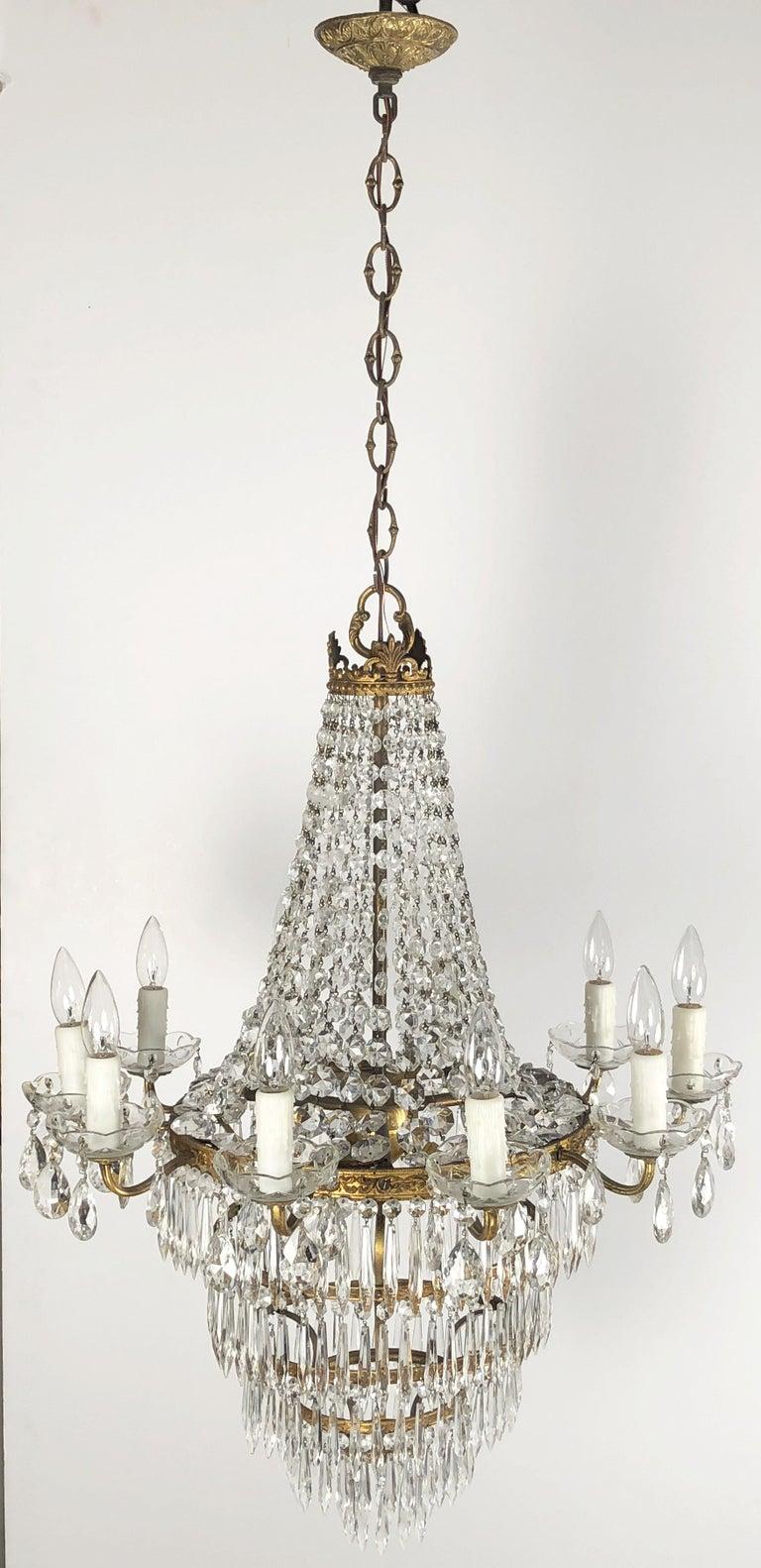 Gilt Italian Thirteen-Light Drop Crystal Chandelier, Empire Style (26