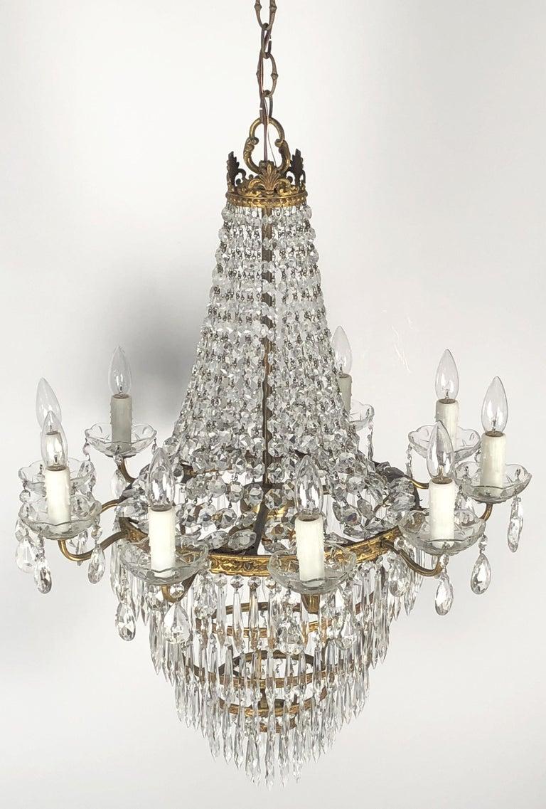 20th Century Italian Thirteen-Light Drop Crystal Chandelier, Empire Style (26
