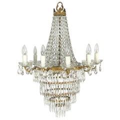 Italian Thirteen-Light Drop Crystal Chandelier, Empire Style
