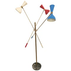 Italian Three-Arm Floor Lamp with brass arms and marble base