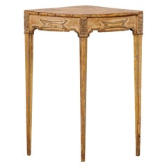 Italian Three-Legged Corner Table with Faux Marble Painted Top, Mid-20th Century