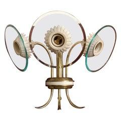 Italian Three-Light Brass Applique by Pietro Chiesa for Fontana Arte, 1940s