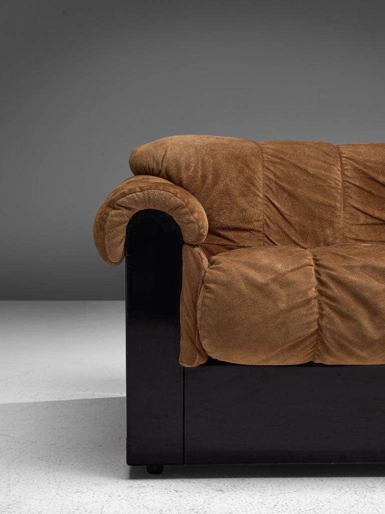 Mid-Century Modern Italian Three-Seat Sofa with Camel Alcantara Upholstery For Sale