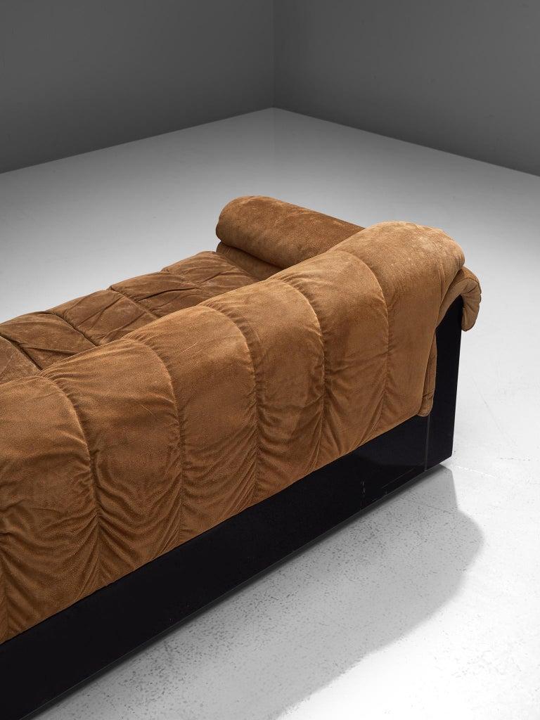 Italian Three-Seat Sofa with Camel Alcantara Upholstery For Sale 1