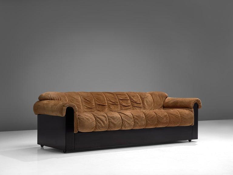 Italian Three-Seat Sofa with Camel Alcantara Upholstery For Sale 2