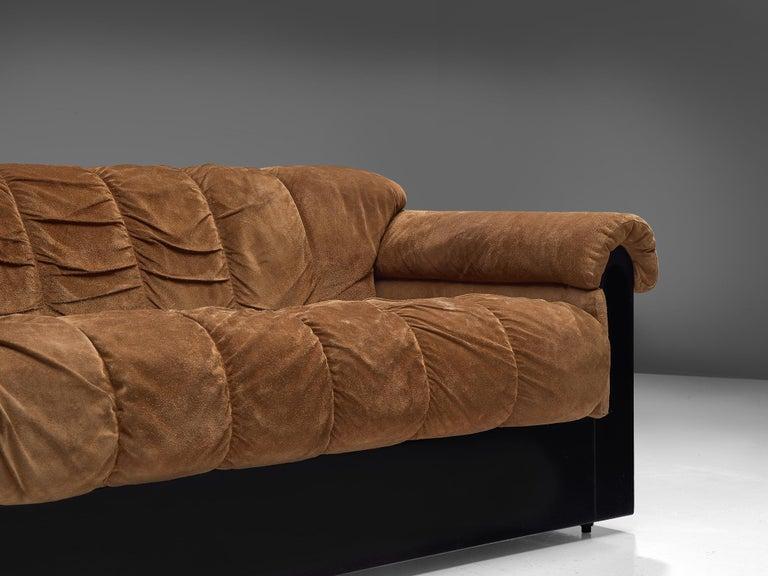 Fabric Italian Three-Seat Sofa with Camel Alcantara Upholstery For Sale