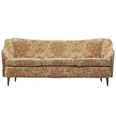 Italian Three-Seat Sofa with Floral Upholstery