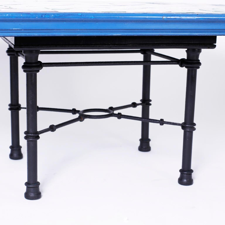 French Provincial Italian Tile Top Dining Table For Sale