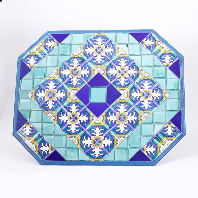 Italian Tile Top Dining Table In Good Condition For Sale In Palm Beach, FL