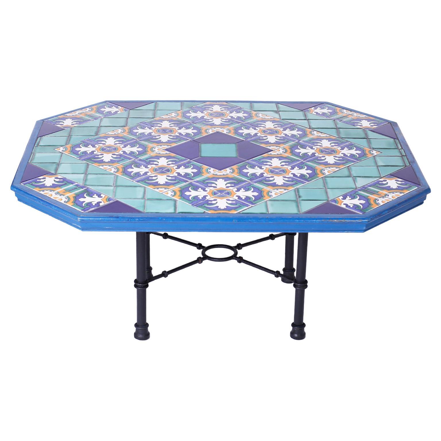 Italian Tile Top Dining Table