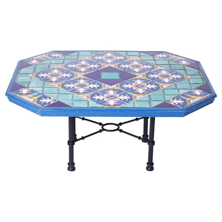 Italian Tile Top Dining Table For Sale
