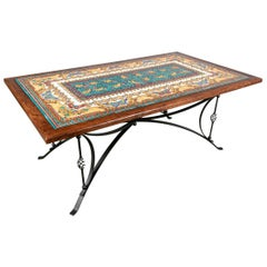 Italian Tile Top Dining Table with Wrought Iron Base