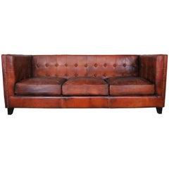 Italian Tobacco Colored Leather Sofa