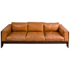 Italian Tobia Scarpa 'Bastiano' Sofa in Walnut and Cognac Leather for Knoll