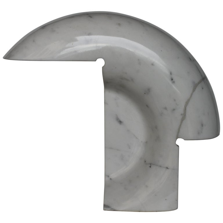 "Mid Century Italian Tobia Scarpa ""Biagio"" Table Lamp in White Marble, Flos 1968 For Sale"