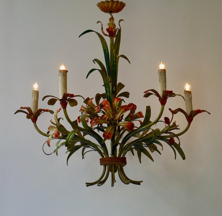 Italian Tôle Chandelier with Flowers, 1970s 4