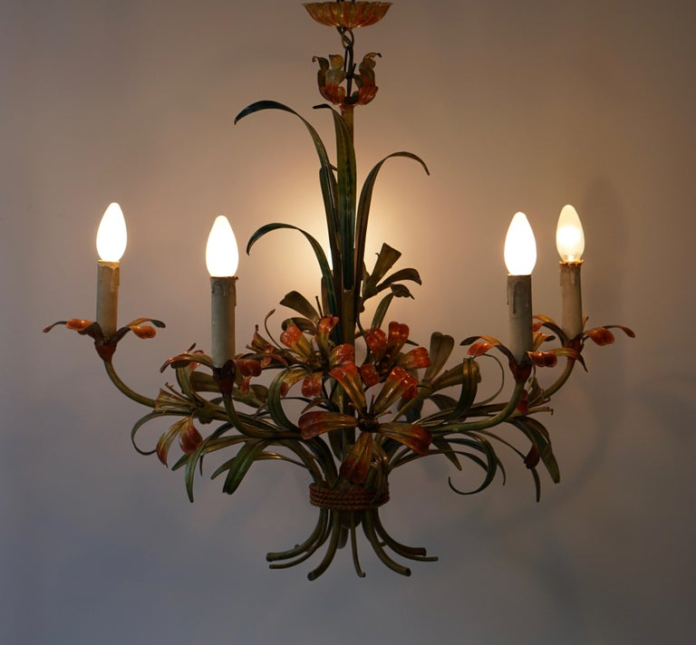 Italian Tôle Chandelier with Flowers, 1970s 5