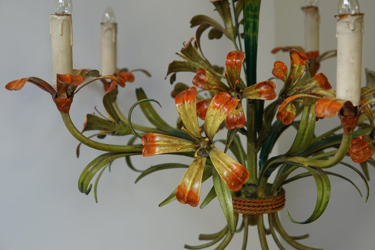 Italian Tôle Chandelier with Flowers, 1970s 6