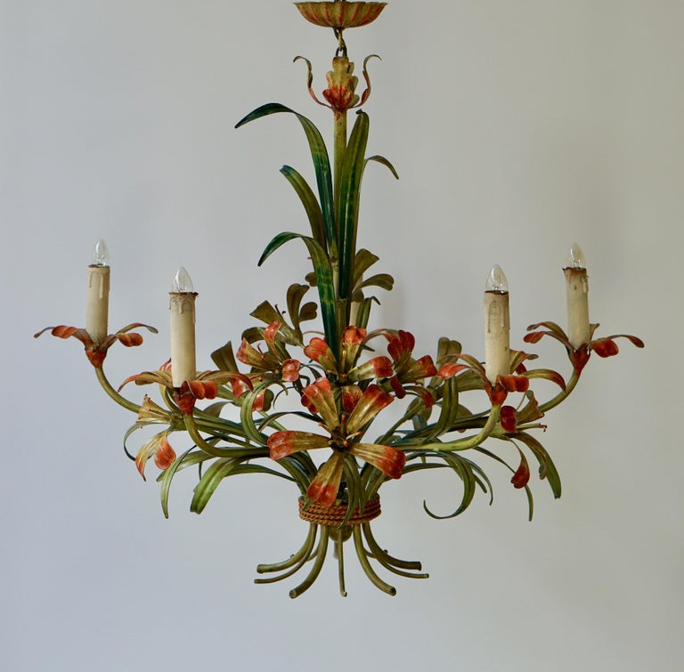Italian Tôle Chandelier with Flowers, 1970s In Good Condition In Antwerp, BE