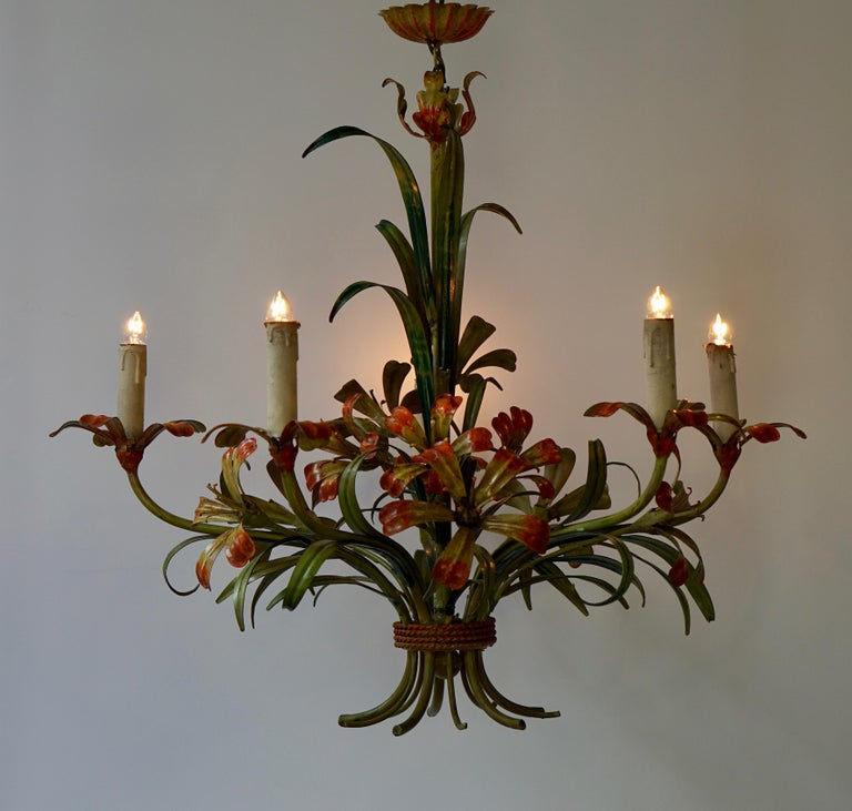 20th Century Italian Tôle Chandelier with Flowers, 1970s