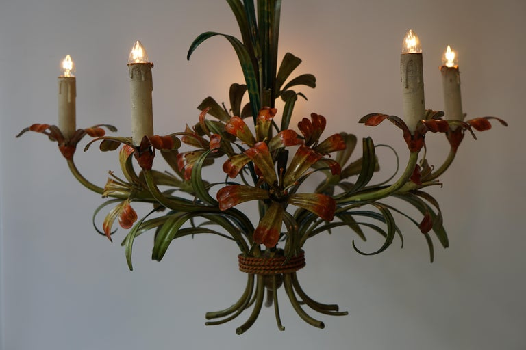 Metal Italian Tôle Chandelier with Flowers, 1970s