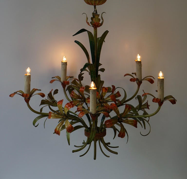 Italian Tôle Chandelier with Flowers, 1970s 3