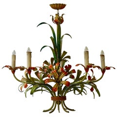 Italian Tôle Chandelier with Flowers, 1970s