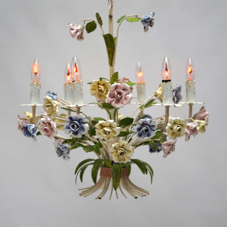Italian Tole Chandelier with Porcelain Flowers For Sale 4