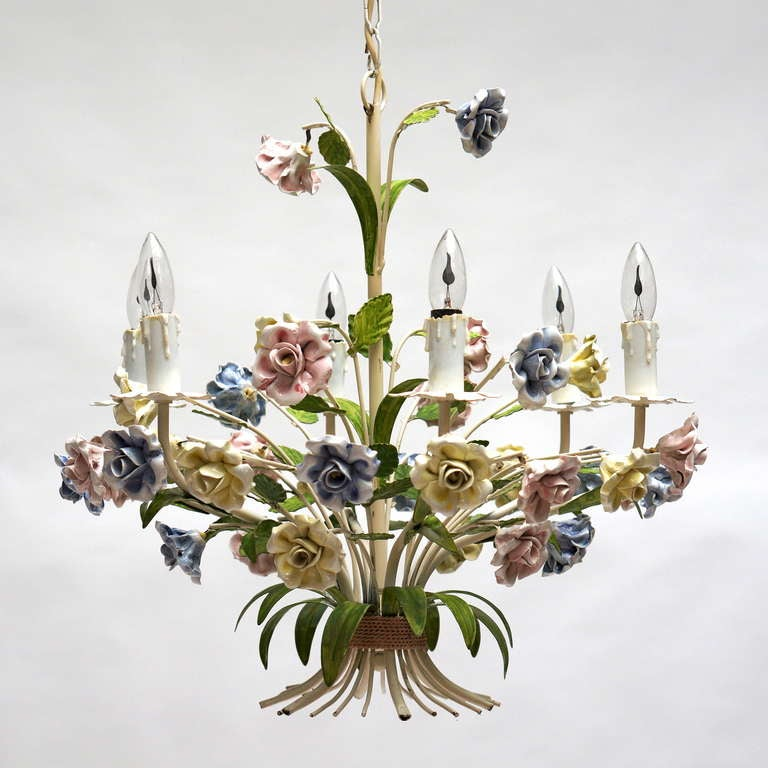 Mid-Century Modern Italian Tole Chandelier with Porcelain Flowers For Sale