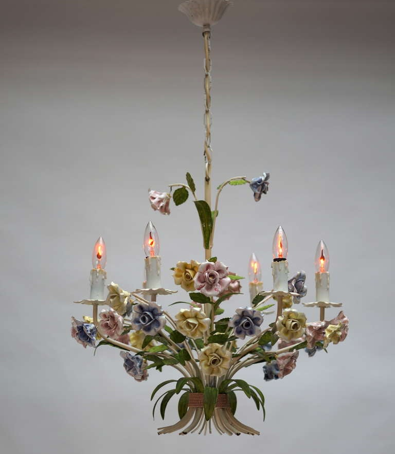 Metal Italian Tole Chandelier with Porcelain Flowers For Sale