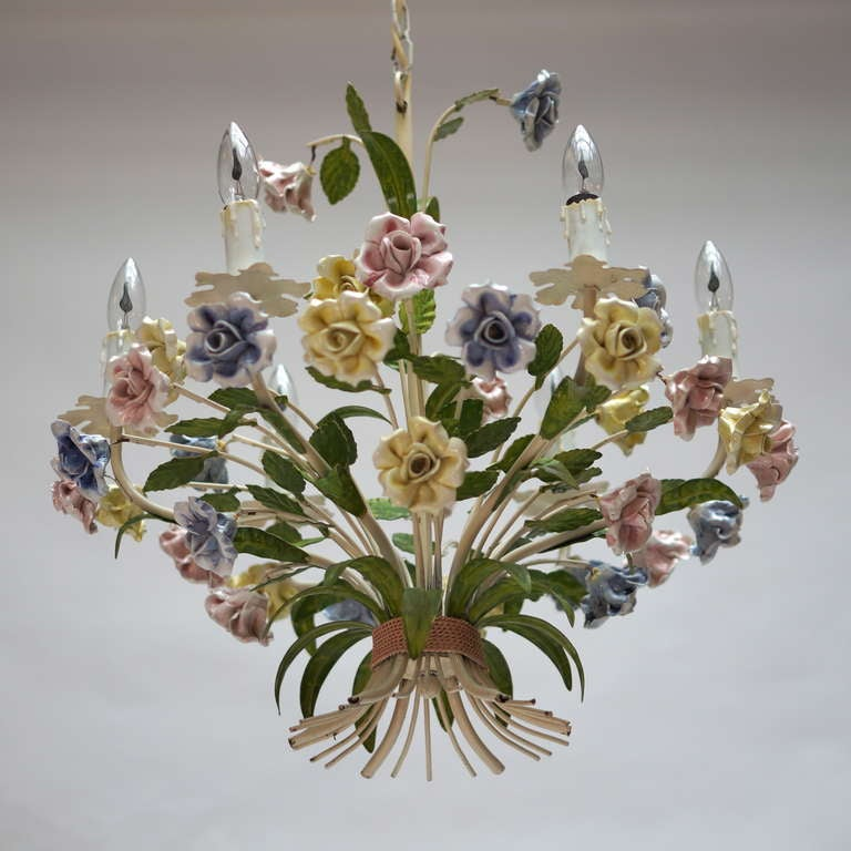 Italian Tole Chandelier with Porcelain Flowers For Sale 1