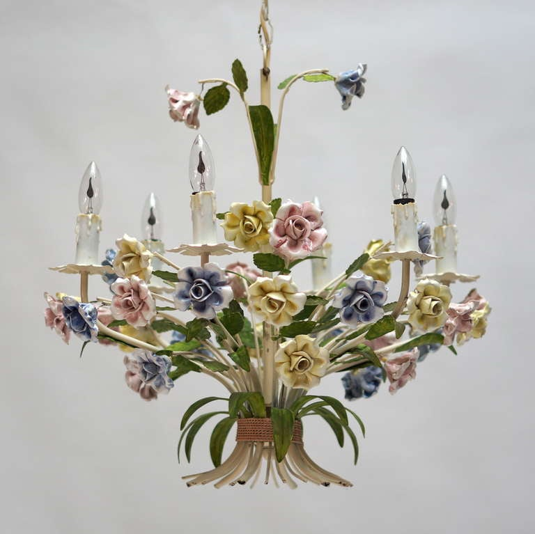 Italian Tole Chandelier with Porcelain Flowers For Sale 2
