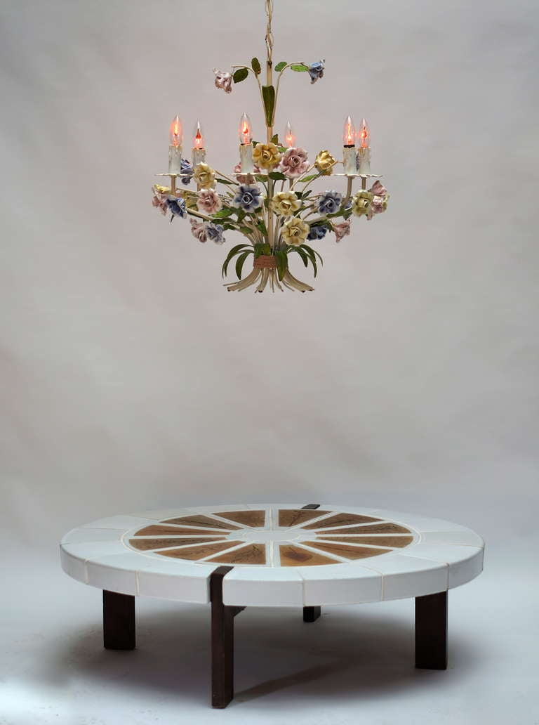 Italian Tole Chandelier with Porcelain Flowers For Sale 3