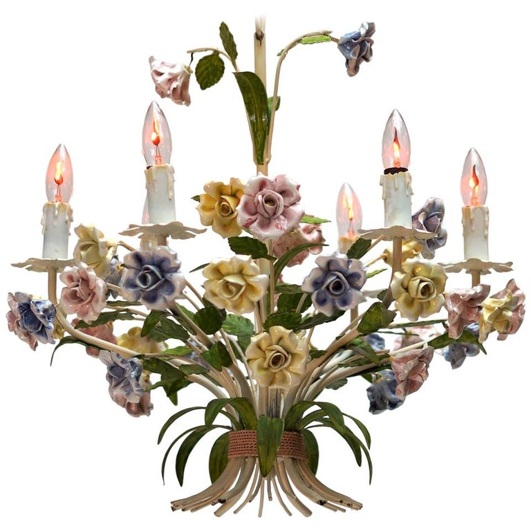 Italian Tole Chandelier with Porcelain Flowers For Sale
