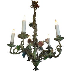 Italian Tole Chandelier with Vines and Flowers