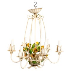 Italian Tole Floral Chandelier with Roses