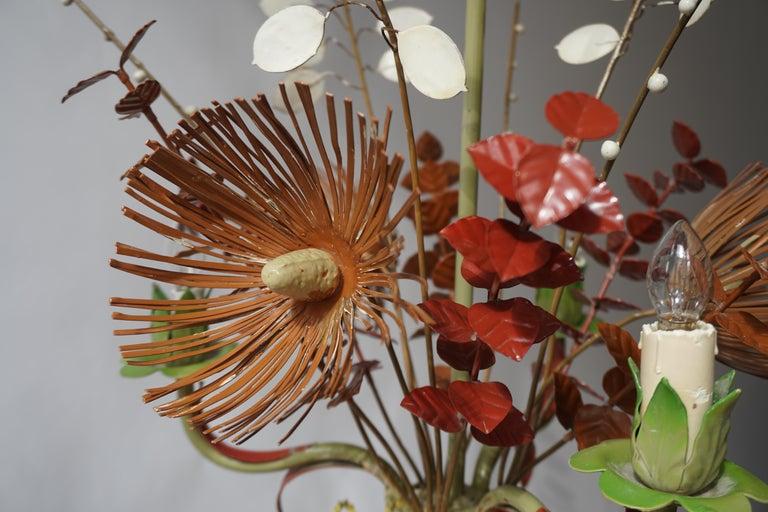 Hollywood Regency Italian Tole Painted Floral Chandelier Light Fixture